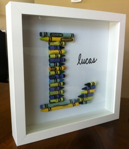 diy crayon letter, letter with crayons